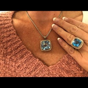 David Yurman 20mm Blue Topaz & Diamond Enhancer